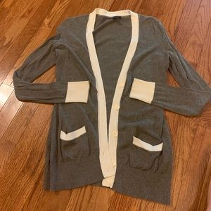 Tommy Hilfiger gray with cream accent cardigan